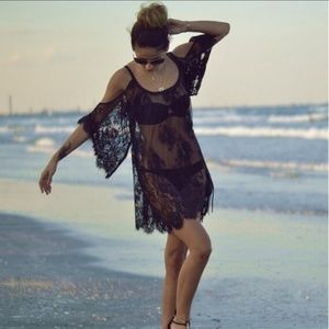 🐚RESTOCK Sexy Black Lace Beach Cover Up